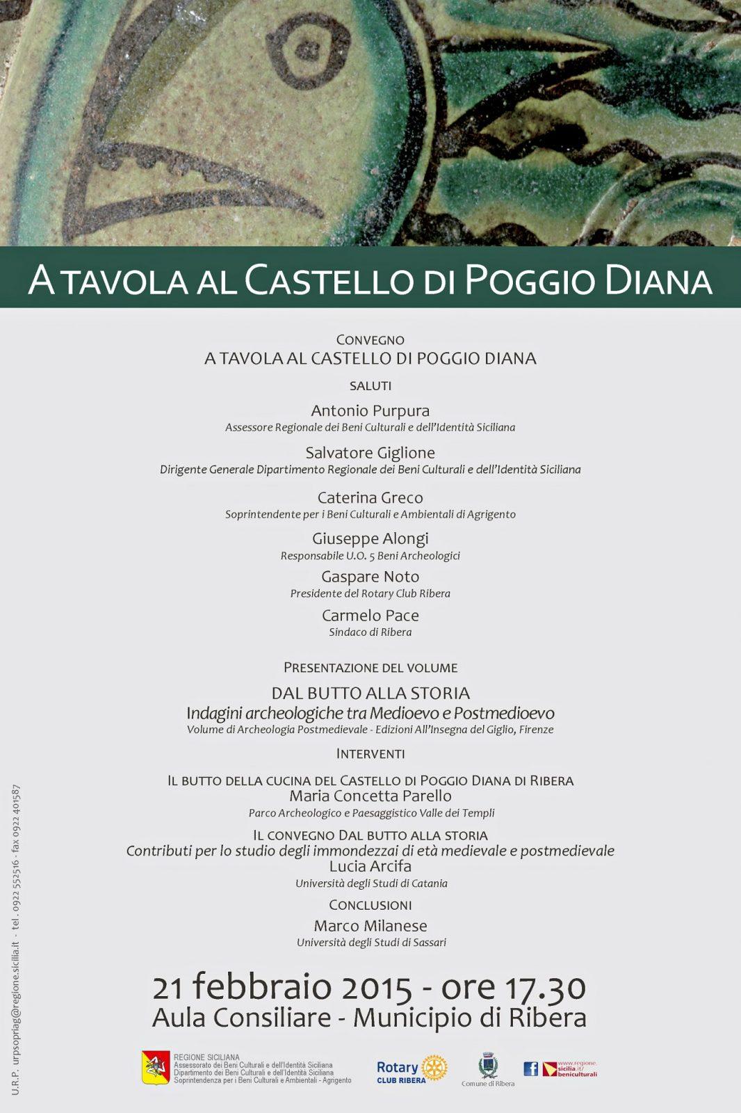 A tavola al Castello di Poggio Diana, locandina.