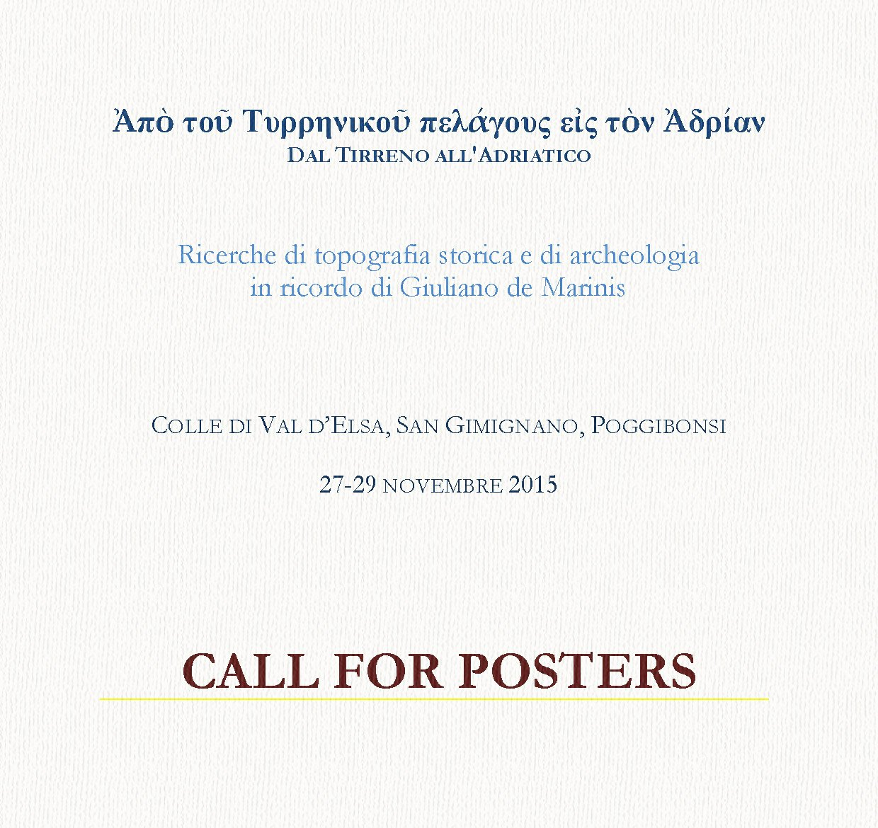 Call for posters.