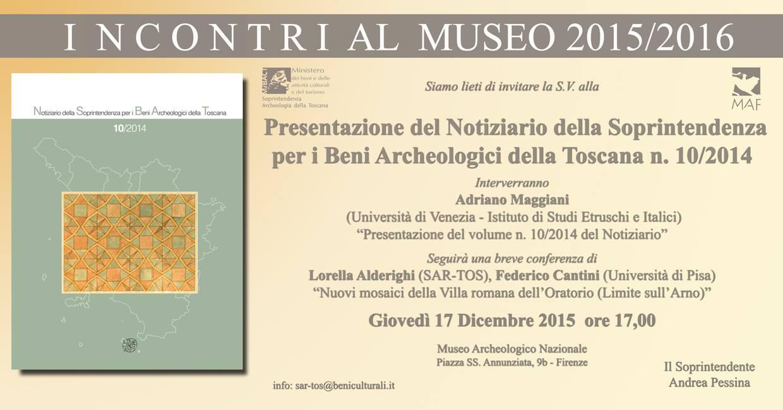Presentazione del Notiziario della Soprintendenza Archeologia Toscana, n. 10/2014, invito.