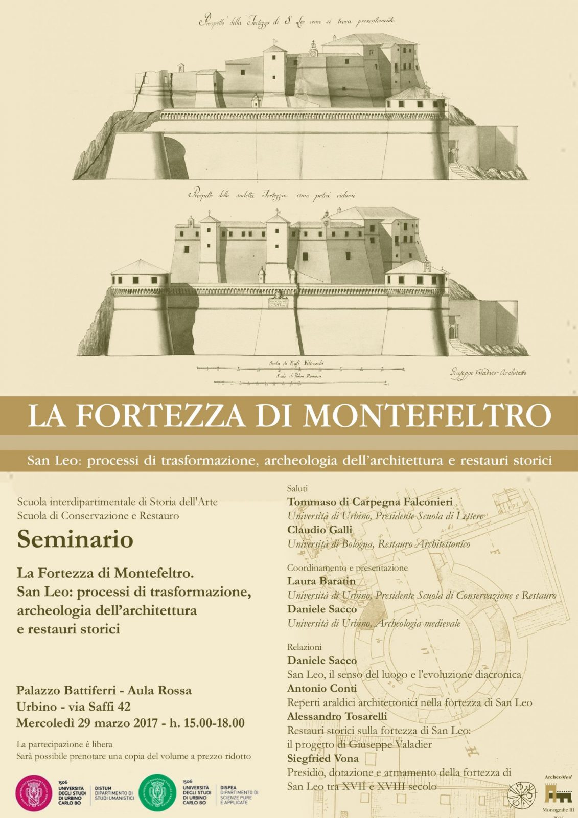 """Programma 29 marzo, presentazione """"La fortezza di Montefeltro""""."""