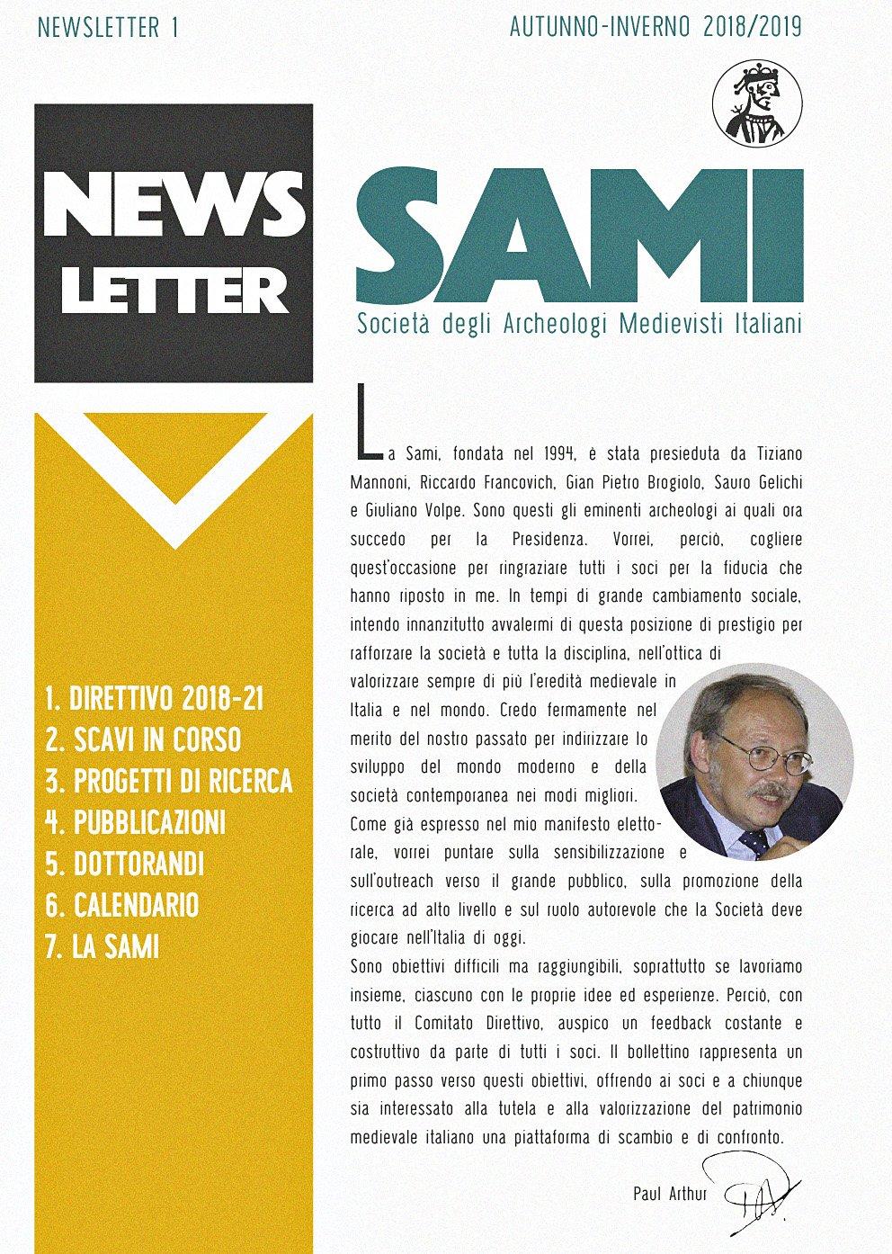 SAMI, newsletter 1, ottobre 2018.