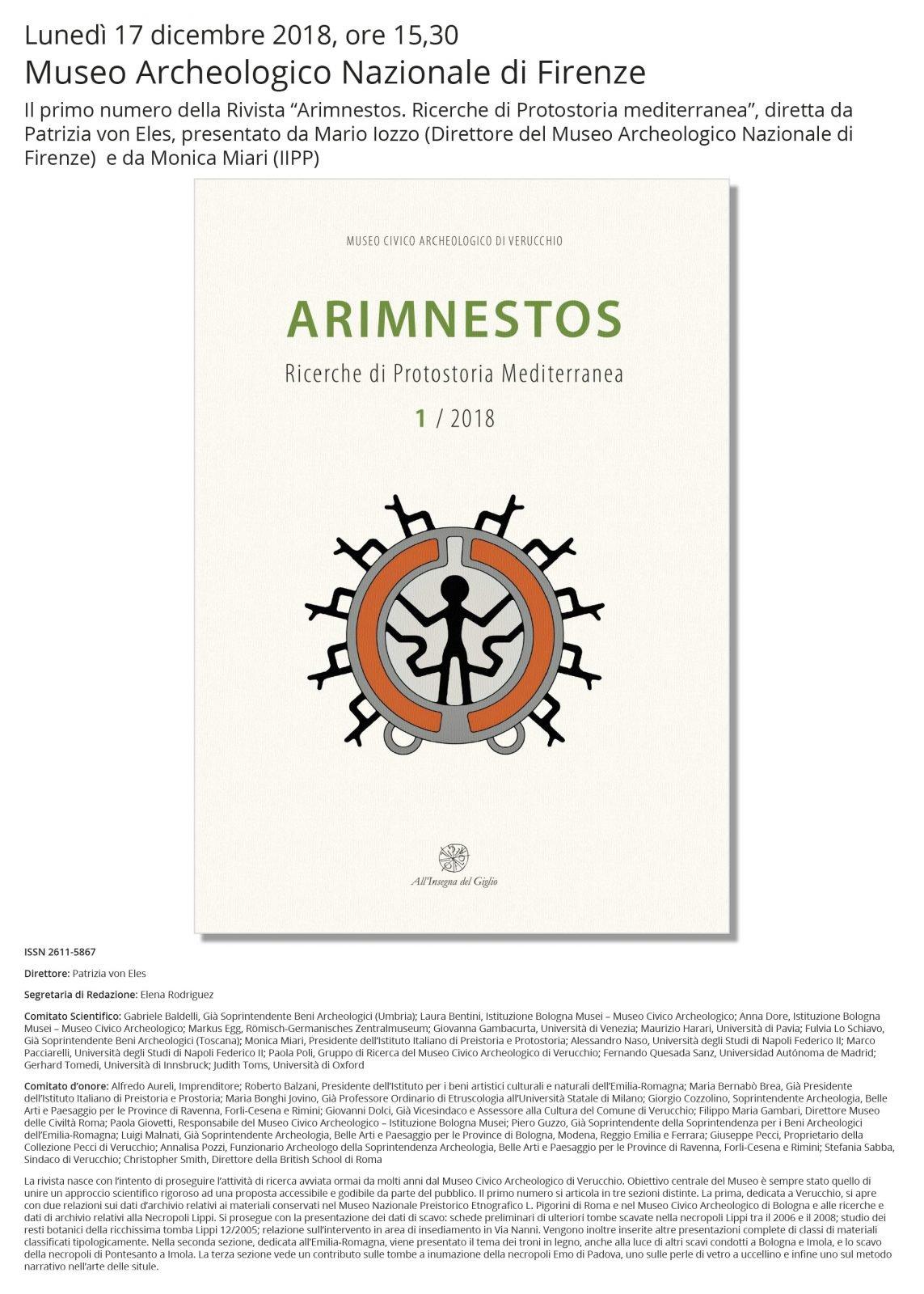Arimnestos, locandina presentazione a Firenze.