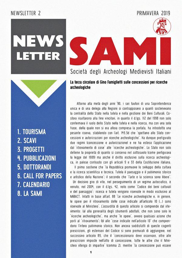 SAMI, Newsletter 2, prima pagina.