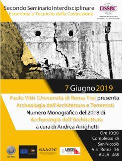 Seminario Unisi, presentazione numero monografico Archeologia dell'Architettura 2018.