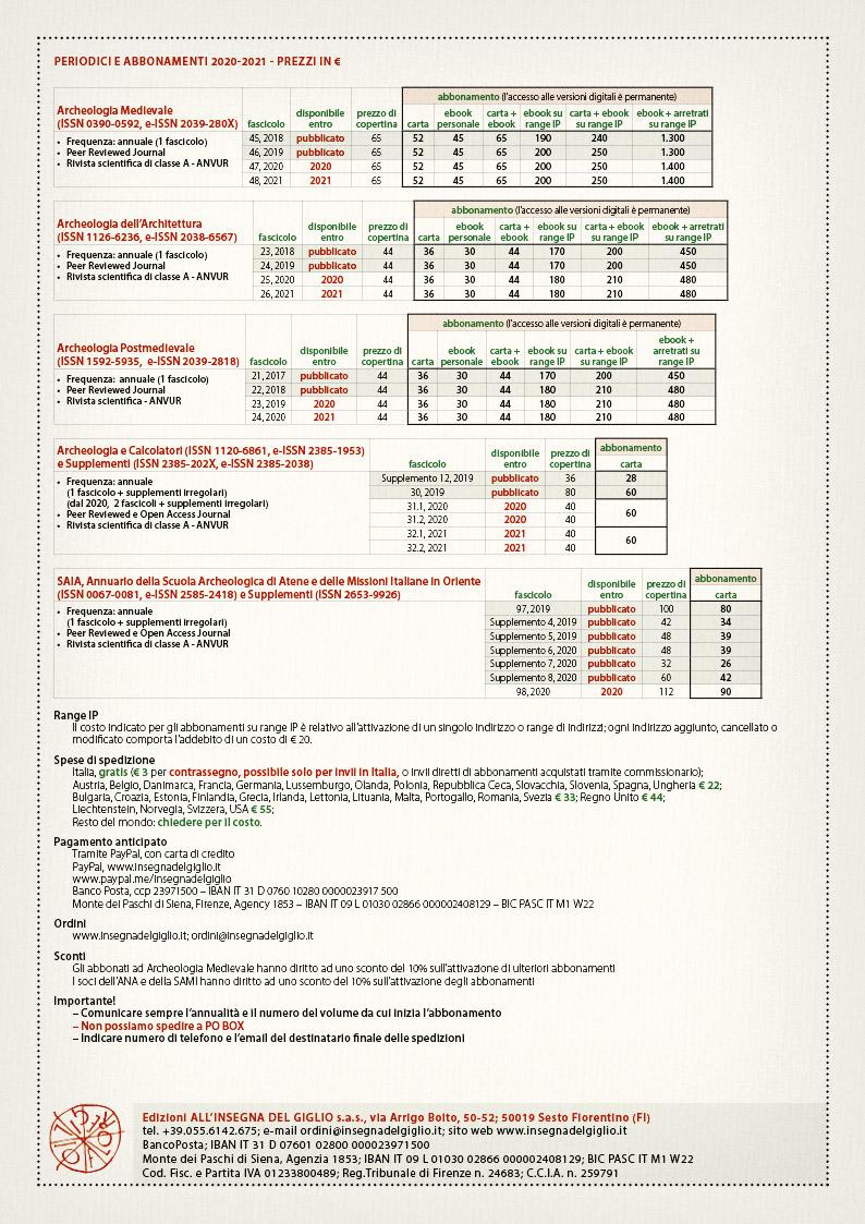 Tariffe di abbonamento, aggiornate al settembre 2020.