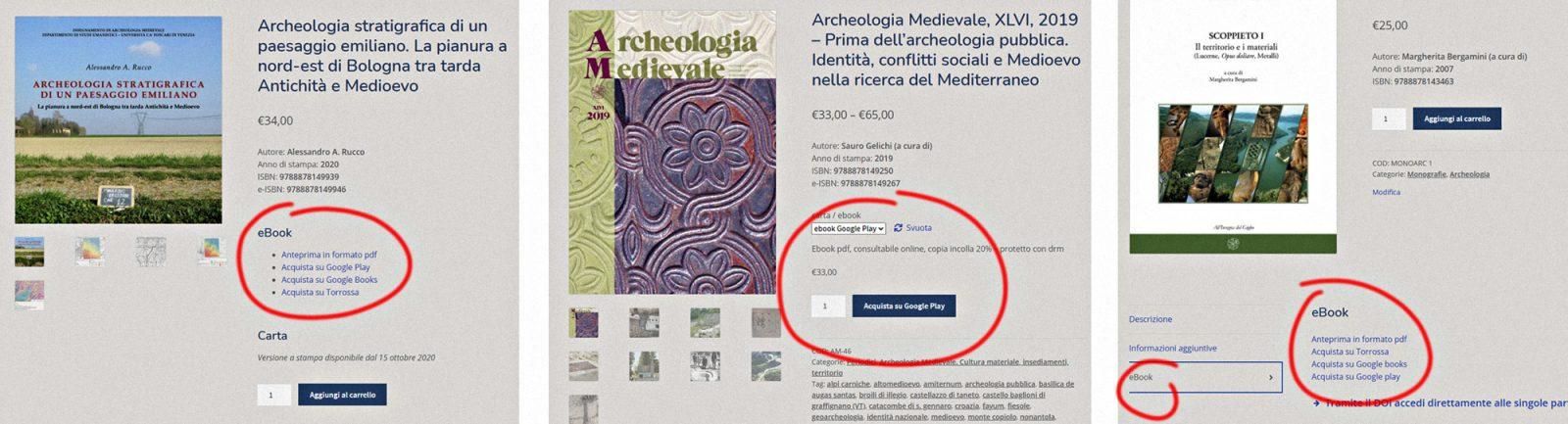 Posizionamento del link agli ebook.