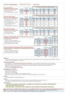Tariffe di abbonamento, aggiornate a maggio 2021.